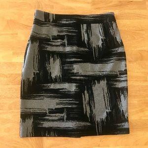 Calvin Klein 12 Black Gray Pencil Skirt